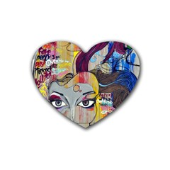Graffiti Mural Street Art Painting Heart Coaster (4 Pack)  by BangZart