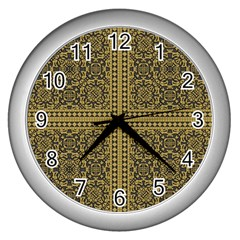 Seamless Pattern Design Texture Wall Clocks (silver)  by BangZart