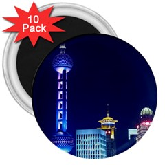 Shanghai Oriental Pearl Tv Tower 3  Magnets (10 Pack)  by BangZart