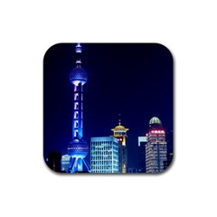 Shanghai Oriental Pearl Tv Tower Rubber Square Coaster (4 Pack)  by BangZart