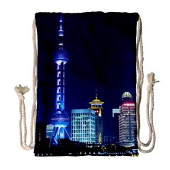 Shanghai Oriental Pearl Tv Tower Drawstring Bag (large) by BangZart