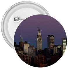 Skyline City Manhattan New York 3  Buttons by BangZart
