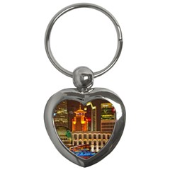 Shanghai Skyline Architecture Key Chains (heart)  by BangZart