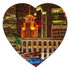Shanghai Skyline Architecture Jigsaw Puzzle (heart) by BangZart