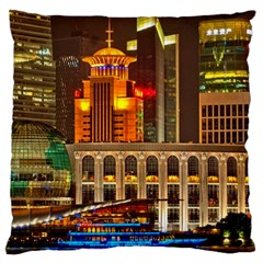 Shanghai Skyline Architecture Large Cushion Case (one Side) by BangZart