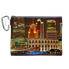 Shanghai Skyline Architecture Canvas Cosmetic Bag (xl) by BangZart