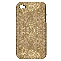 Ornate Golden Baroque Design Apple Iphone 4/4s Hardshell Case (pc+silicone) by dflcprints