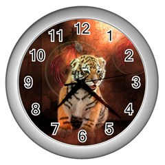 Cute Little Tiger Baby Wall Clocks (silver)  by FantasyWorld7