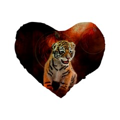 Cute Little Tiger Baby Standard 16  Premium Flano Heart Shape Cushions by FantasyWorld7