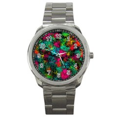 Squiggly Abstract B Sport Metal Watch by MoreColorsinLife