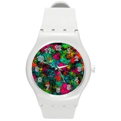 Squiggly Abstract B Round Plastic Sport Watch (m) by MoreColorsinLife