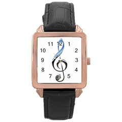 Musical Note  Rose Gold Leather Watch  by Photozrus