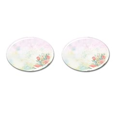 Romantic Watercolor Books And Flowers Cufflinks (oval) by paulaoliveiradesign