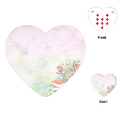 Romantic Watercolor Books And Flowers Playing Cards (heart)  by paulaoliveiradesign