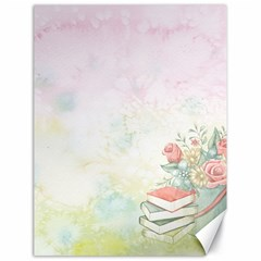 Romantic Watercolor Books And Flowers Canvas 18  X 24   by paulaoliveiradesign