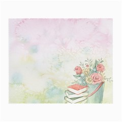 Romantic Watercolor Books And Flowers Small Glasses Cloth (2 Side)