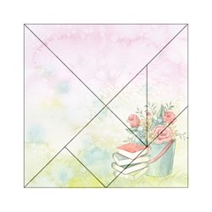 Romantic Watercolor Books And Flowers Acrylic Tangram Puzzle (6  X 6 ) by paulaoliveiradesign