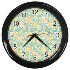 Seamless Pattern Blue Floral Wall Clocks (black) by paulaoliveiradesign