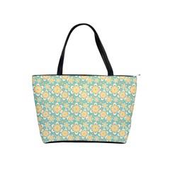 Seamless Pattern Blue Floral Shoulder Handbags by paulaoliveiradesign