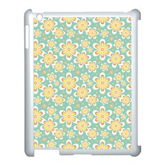 Seamless Pattern Blue Floral Apple Ipad 3/4 Case (white) by paulaoliveiradesign