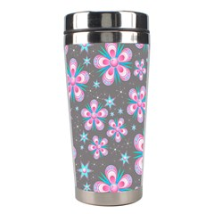 Seamless Pattern Purple Girly Floral Pattern Stainless Steel Travel Tumblers by paulaoliveiradesign