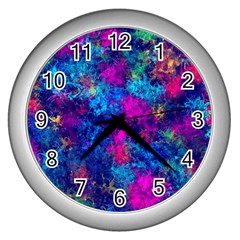 Squiggly Abstract E Wall Clocks (silver)  by MoreColorsinLife