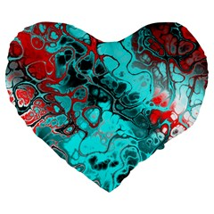 Awesome Fractal 35g Large 19  Premium Flano Heart Shape Cushions by MoreColorsinLife