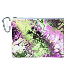 Awesome Fractal 35d Canvas Cosmetic Bag (l) by MoreColorsinLife