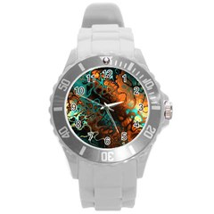 Awesome Fractal 35f Round Plastic Sport Watch (l) by MoreColorsinLife