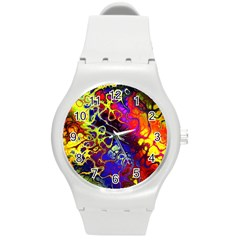 Awesome Fractal 35c Round Plastic Sport Watch (m) by MoreColorsinLife