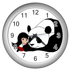 Girl And Panda Wall Clocks (silver)  by Valentinaart