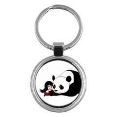 Girl And Panda Key Chains (round)  by Valentinaart