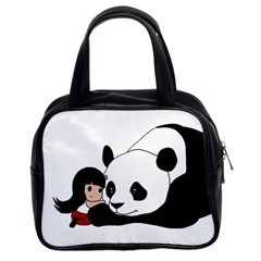 Girl And Panda Classic Handbags (2 Sides) by Valentinaart