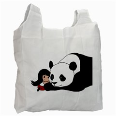 Girl And Panda Recycle Bag (two Side)  by Valentinaart