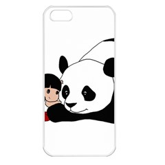 Girl And Panda Apple Iphone 5 Seamless Case (white) by Valentinaart