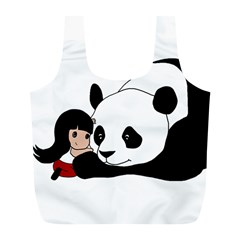 Girl And Panda Full Print Recycle Bags (l)  by Valentinaart