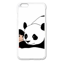 Girl And Panda Apple Iphone 6 Plus/6s Plus Enamel White Case by Valentinaart
