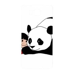 Girl And Panda Samsung Galaxy Alpha Hardshell Back Case by Valentinaart