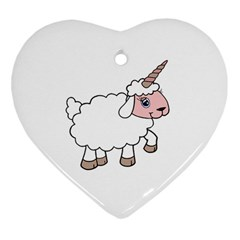 Unicorn Sheep Heart Ornament (two Sides) by Valentinaart