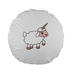 Unicorn Sheep Standard 15  Premium Flano Round Cushions by Valentinaart