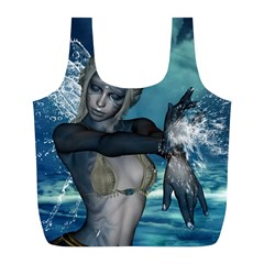 The Wonderful Water Fairy With Water Wings Full Print Recycle Bags (l)  by FantasyWorld7