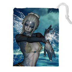 The Wonderful Water Fairy With Water Wings Drawstring Pouches (xxl) by FantasyWorld7
