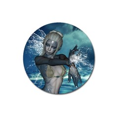 The Wonderful Water Fairy With Water Wings Magnet 3  (round) by FantasyWorld7