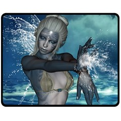 The Wonderful Water Fairy With Water Wings Double Sided Fleece Blanket (medium)  by FantasyWorld7