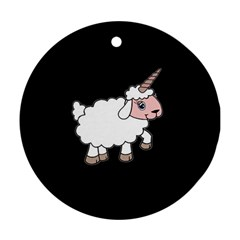 Unicorn Sheep Round Ornament (two Sides) by Valentinaart
