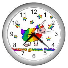 Unicorn Sheep Wall Clocks (silver)  by Valentinaart