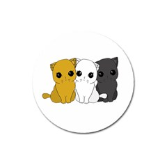 Cute Cats Magnet 3  (round) by Valentinaart