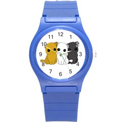 Cute Cats Round Plastic Sport Watch (s) by Valentinaart
