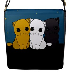 Cute Cats Flap Messenger Bag (s) by Valentinaart