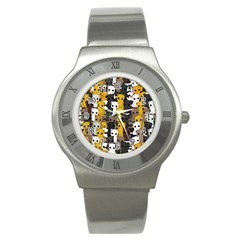 Cute Cats Pattern Stainless Steel Watch by Valentinaart
